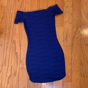 Windsor blue bodycon off the shoulder mini dress